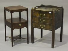 An early 19th century mahogany night cupboard, the galleried top above three drawers, on block legs,