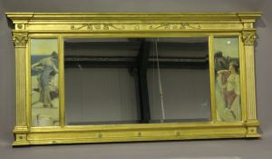 A modern Neoclassical style gilt composition overmantel mirror, the central bevelled glass flanked