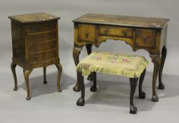 An early 20th century Queen Anne style walnut kneehole dressing table, height 76cm, width 91.5cm,