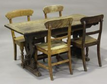 A mid-20th century oak refectory table, on pierced supports, height 73cm, length 150cm, depth