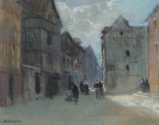 Leonard Richmond - 'A Street in Rouen, France', charcoal and pastel, signed recto, titled exhibition