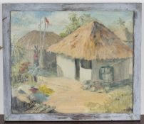 Noël Coward - View of a Jamaican Hut, 20th century oil on board, signed, 32cm x 37.5cm, within a