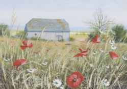 Paul Evans - 'Field Flowers & Flint' and 'Seed Heads & South Downs', a near pair of 20th century