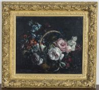 Stuart Scott Somerville - 'Basket of Roses', mid-20th century oil on canvas, signed recto, titled