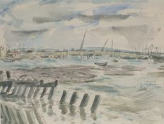 Peter Cumming - 'Shoreham Harbour', watercolour and ink, signed, inscribed and dated April 1954