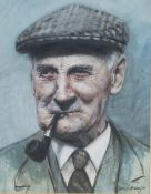 John A. Blakey - Head and Shoulders Portrait of a Man wearing a Flat Cap and with Clenching a Pipe