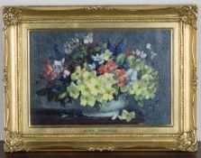 Stuart Scott Somerville - 'Flowers in a Bowl', late 20th century oil on board, signed recto,