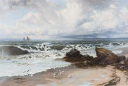 Thomas Rose Miles - 'Fresh Breeze & Flowing Tide', late 19th century oil on canvas, signed recto,