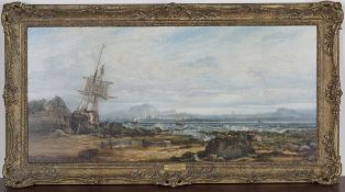 F.H. Oswald - 'Edinburgh from Burntisland', oil on panel, signed and dated 1869 recto, titled and