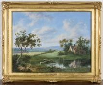 Thomas C. Buttery - 'Landscape with Farmhouse', oil on panel, signed and dated 1837 recto,