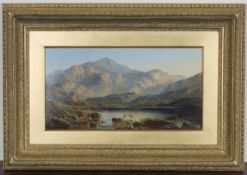 Alfred Augustus Glendening - 'A Highland Loch at Sunset', late 19th century oil on millboard, signed