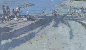 Tom Coates - 'Shadows of Palms, Harbour Beach, Giglio, Italy', late 20th century oil on canvas,