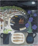 Alan Furneaux - 'Mousehole Harbour', oil on canvas, early 21st century oil on canvas, signed, 61cm x
