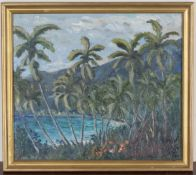 Noël Coward - 'Blue Harbour', 20th century oil on panel, signed recto, titled verso, 34.5cm x 39.