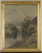 John Adams Whipple - View along a River, oil on canvas, signed, 64.5cm x 49cm, within a gilt frame.