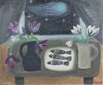 Alan Furneaux - 'Still Life with Three Fish', oil on canvas, early 21st century oil on canvas,