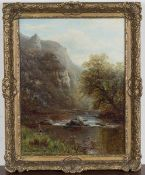 William Mellor - 'View in Dovedale' (Angler on the Bank of a River), late 19th century oil on