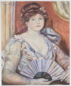 Tom Keating - Portrait of a Lady holding a Fan, pastel, signed, 37cm x 30cm, within a gilt frame.