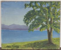 Noël Coward - 'Tree on the Edge of a Lake', 20th century oil on canvas, signed recto, titled and