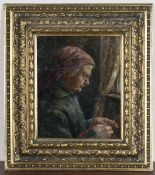 E. Kowolski - Elderly Lady knitting, late 19th/early 20th century oil on canvas, signed, 31cm x