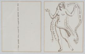 Laura Knight - Christmas Card Design with Female Nude holding a Scroll, two panel pen and ink,