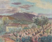 Hans Christiansen - Southern Landscape, oil on canvas, signed, 36.5cm x 45.5cm, within a painted
