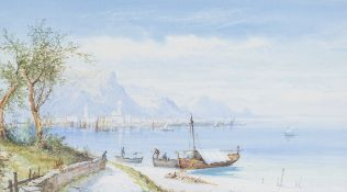 Edwin St John - 'On Lake Como' and 'Near Isola Bella', a pair of watercolours with gouache, both