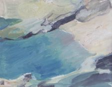 Romi Behrens - 'Cove', 20th century oil on board, artist's name and inscribed verso, 29cm x 37cm,