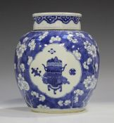 A Chinese blue and white porcelain ginger jar and cover, Kangxi period, painted with panels of
