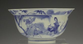 A Chinese blue and white porcelain circular bowl with flared rim, mark and period of Kangxi, the