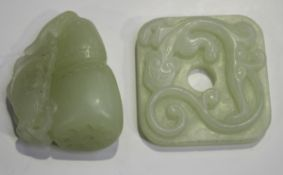 Two Chinese pale celadon jade pendants, late 19th/20th century, the first carved in the form of a