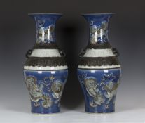 An impressive pair of Chinese blue and crackle glazed porcelain vases, late Qing dynasty, each of