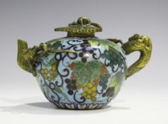 A Chinese gilt bronze and cloisonné wine pot, probably Jiaqing/Daoguang period, the globular body