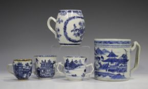 A Chinese Canton blue and white export porcelain tankard, late 19th century, the cylindrical body
