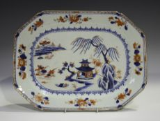 A Chinese Imari export porcelain meat dish, Qianlong period, painted with a pavilion on an island