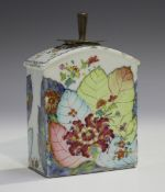 A Chinese famille rose tobacco leaf pattern export porcelain tea caddy, Qianlong period, decorated