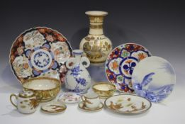 A small group of Japanese pottery and porcelain, late 19th and 20th century, including an Imari