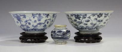 Two Chinese blue and white porcelain circular bowls, Ming dynasty, each exterior painted with