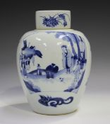 A Chinese blue and white porcelain jar and cover, Transitional style but 20th century or later,