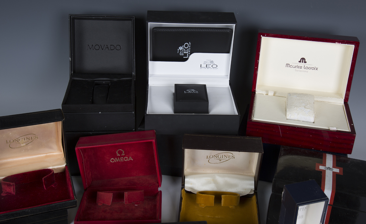 A large collection of wristwatch, pocket watch and jewellery boxes and cases, including three J.W. - Image 3 of 6