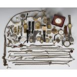 A collection of wristwatches and pocket watches, including an Elgin gilt metal hunting cased keyless