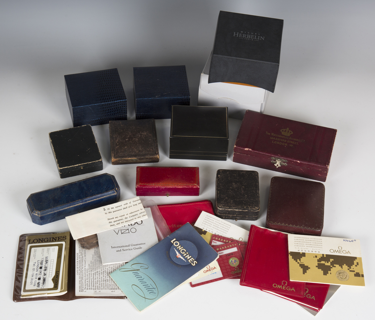 A large collection of wristwatch, pocket watch and jewellery boxes and cases, including three J.W. - Image 2 of 6