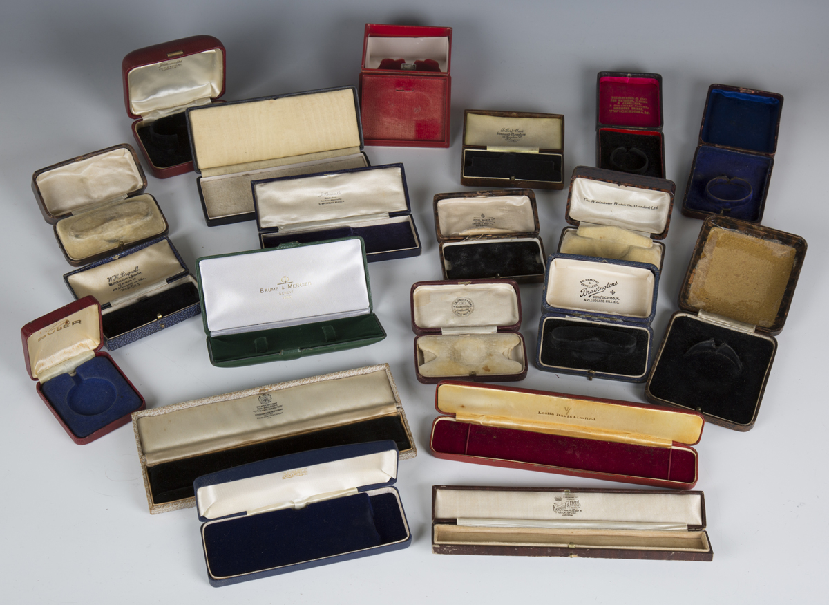 A large collection of wristwatch, pocket watch and jewellery boxes and cases, including three J.W. - Image 6 of 6