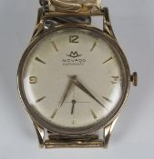 A Movado Automatic 9ct gold circular cased gentleman's wristwatch, the signed silvered dial with
