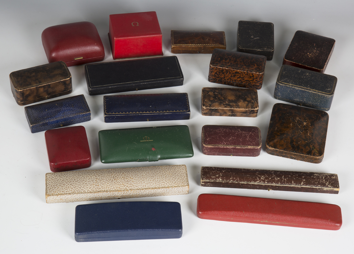 A large collection of wristwatch, pocket watch and jewellery boxes and cases, including three J.W.