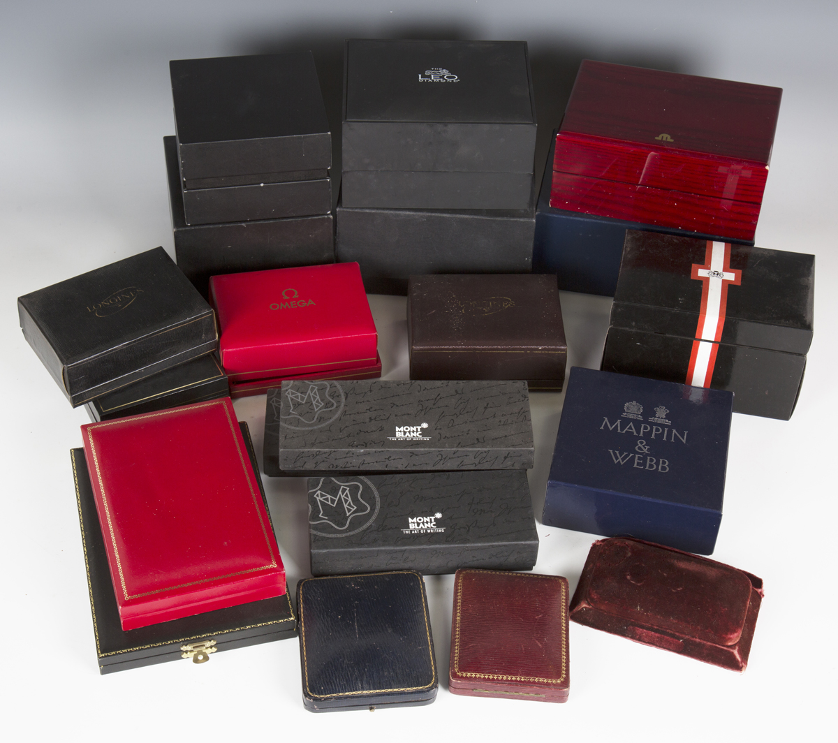 A large collection of wristwatch, pocket watch and jewellery boxes and cases, including three J.W. - Image 5 of 6