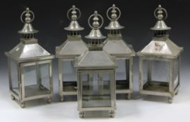A set of five modern plated hanging garden lanterns, height 47cm.Buyer's Premium 29.4% (including