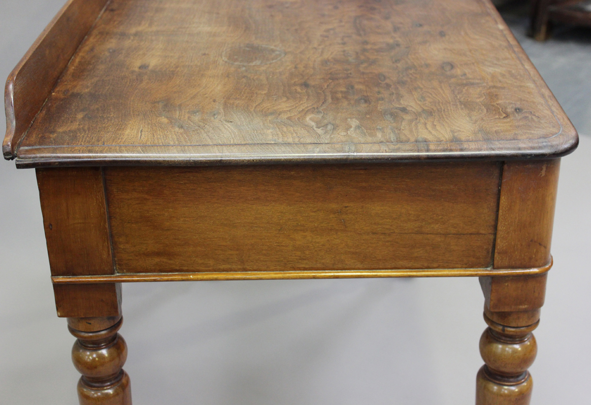 A Victorian mahogany side table, fitted with two frieze drawers, on turned legs, height 80cm, - Image 3 of 7