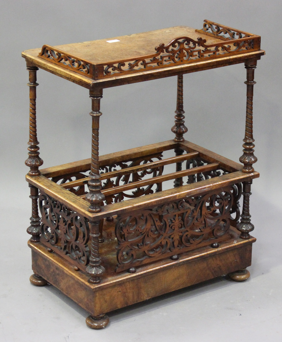 A mid-Victorian burr walnut and boxwood inlaid whatnot Canterbury with pierced fretwork - Image 2 of 4