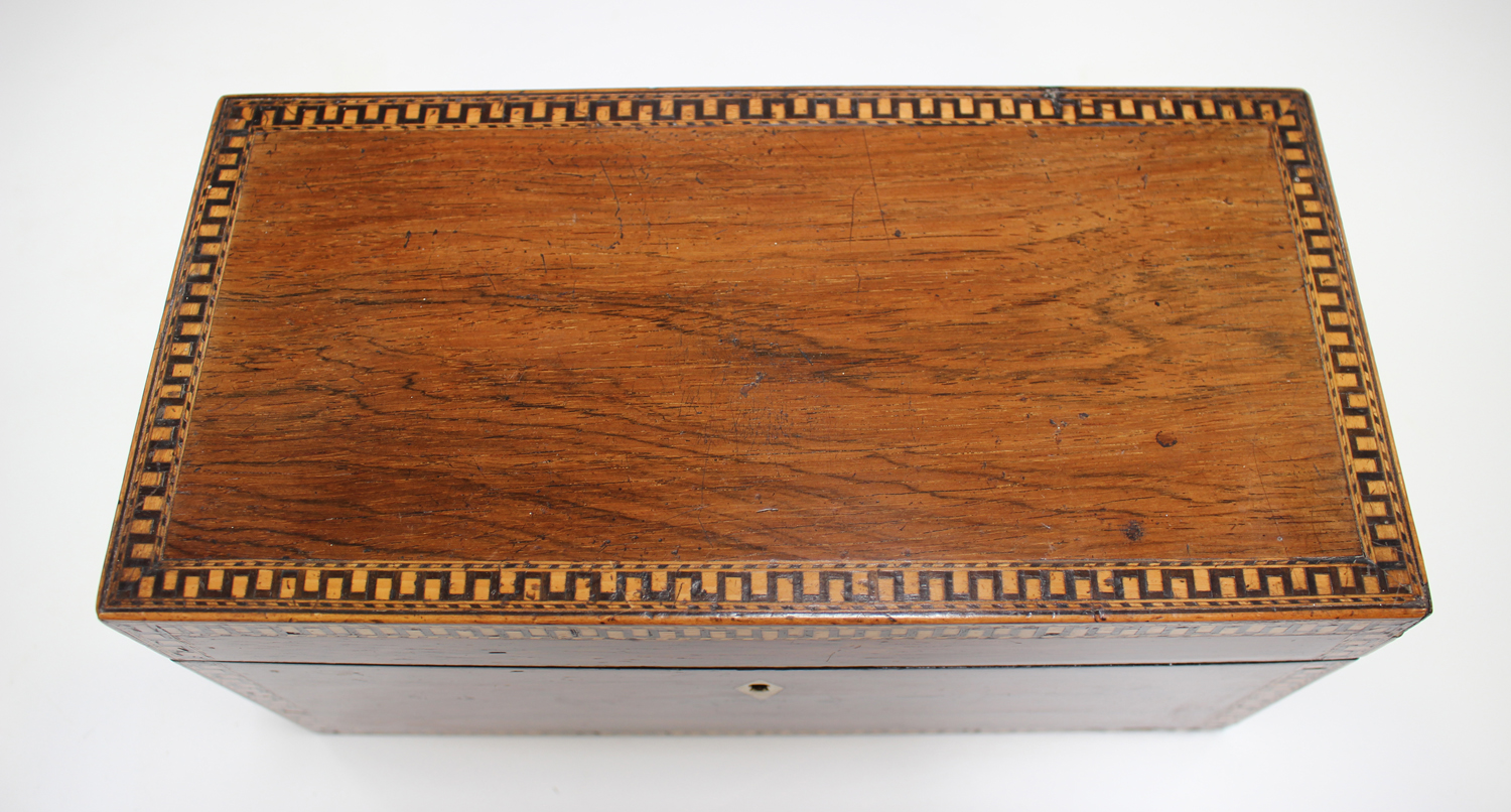 A George III rosewood tea caddy with inlaid running scroll borders and applied gilt metal phoenix - Image 2 of 10